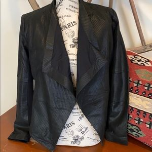 GILI Open Front Leather Jacket W/Pockets BLK